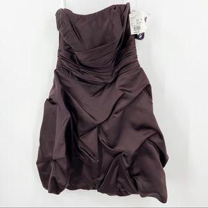 New DAVID'S BRIDAL 84091 Truffle Bridesmaid Dress